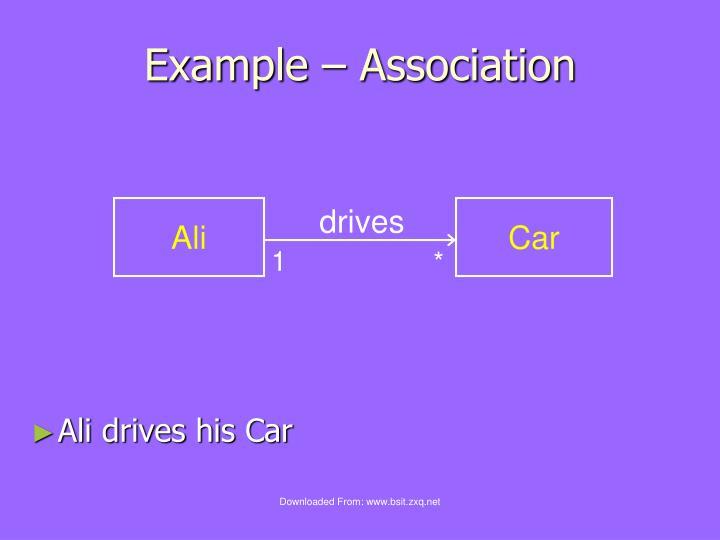 Example – Association