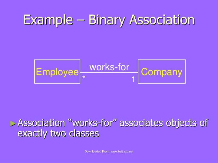 Example – Binary Association
