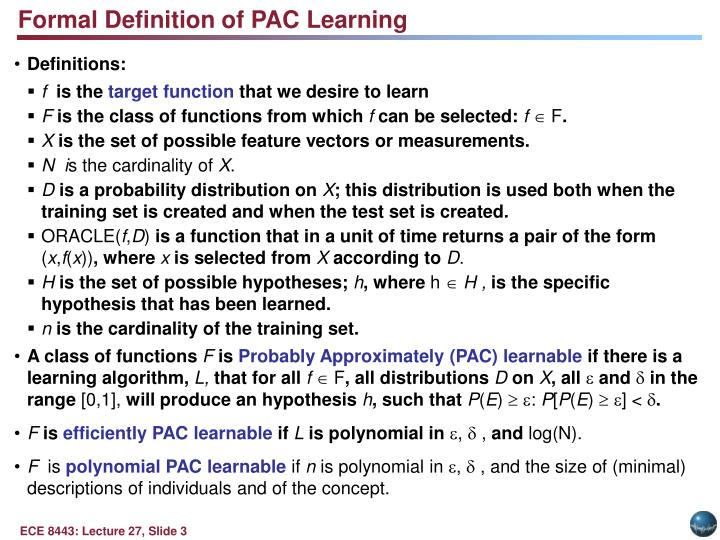 Formal Definition of PAC Learning