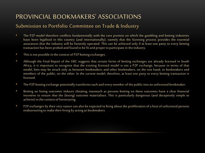 PROVINCIAL BOOKMAKERS' ASSOCIATIONS