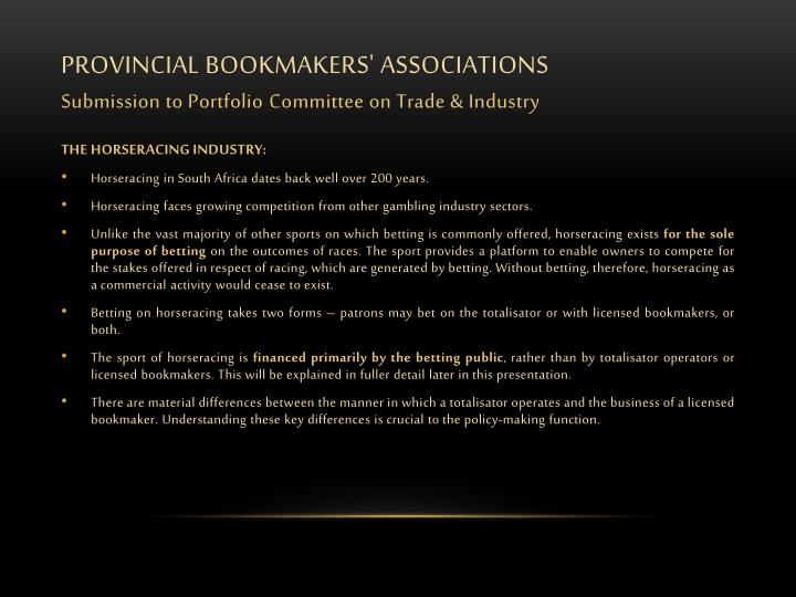 Provincial bookmakers associations submission to portfolio c ommittee on trade industry2