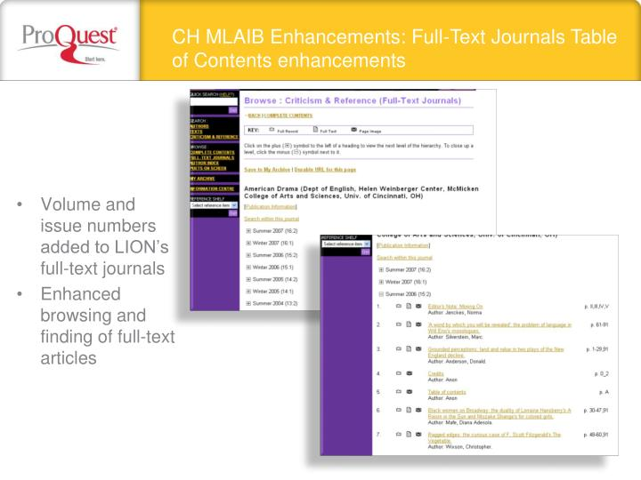 CH MLAIB Enhancements: Full-Text Journals Table of Contents enhancements
