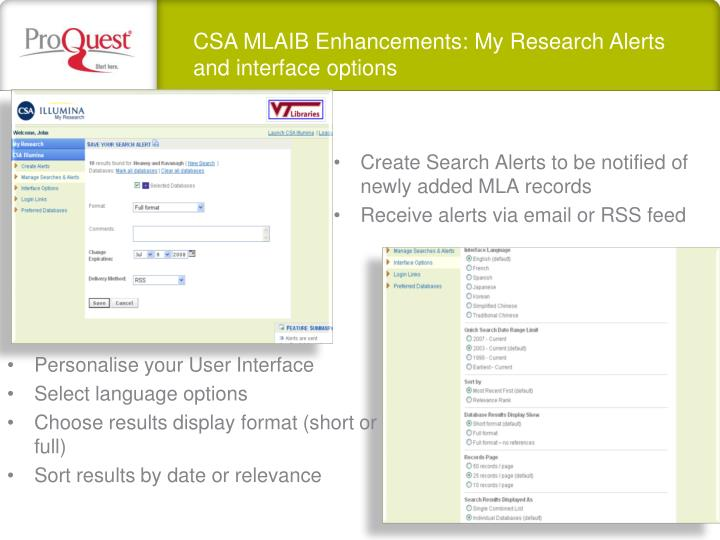CSA MLAIB Enhancements: My Research Alerts and interface options