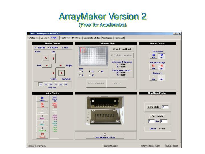Arraymaker version 2 free for academics