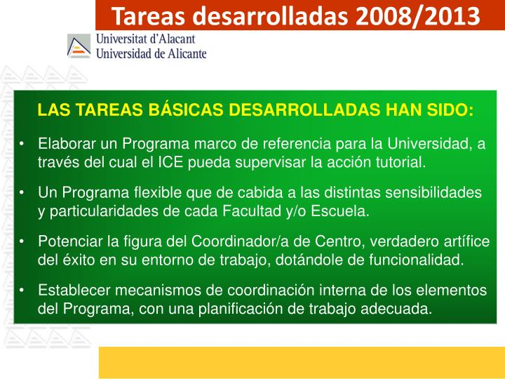 Tareas desarrolladas 2008/2013
