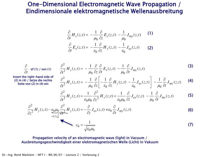 One-Dimensional Electromagnetic Wave Propagation