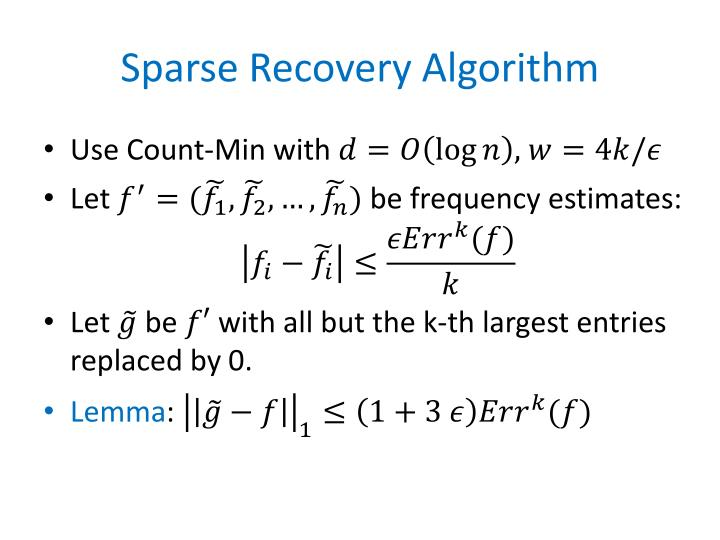 Sparse Recovery Algorithm