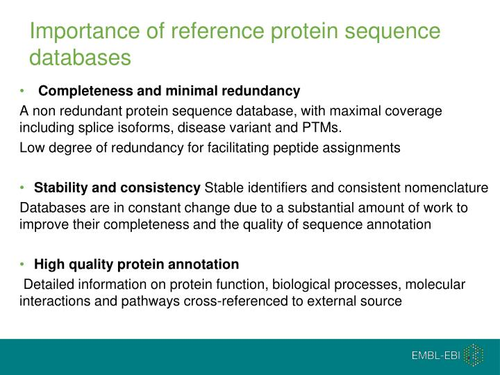 Importance of reference protein sequence databases