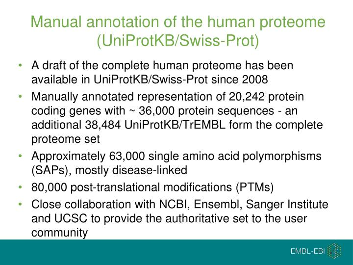 Manual annotation of the human proteome