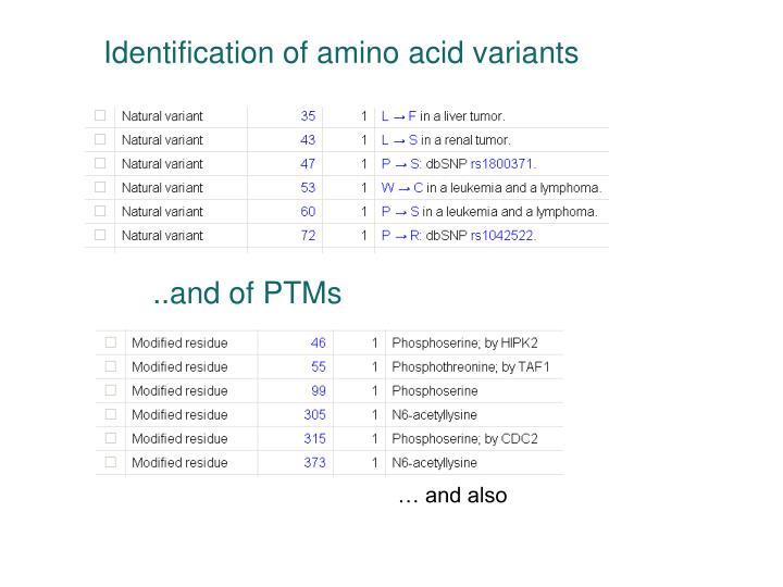 Identification of amino acid variants