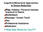 cognitive behavioral approaches to stress reduction2