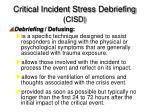 critical incident stress debriefing cisd