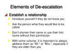 elements of de escalation