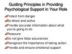 guiding principles in providing psychological support in your role