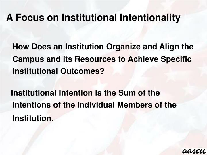 A Focus on Institutional Intentionality