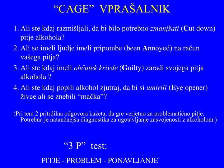 """""""CAGE""""  VPRAŠALNIK"""