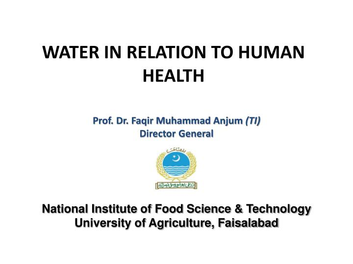 water in relation to human health n.