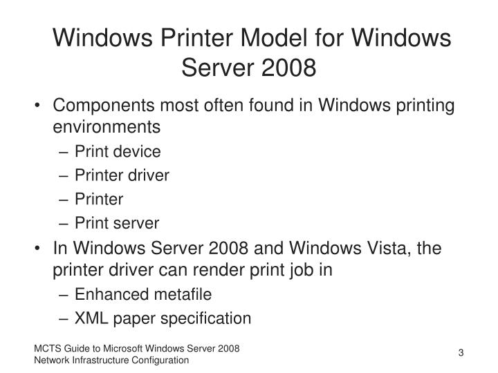 Windows printer model for windows server 2008