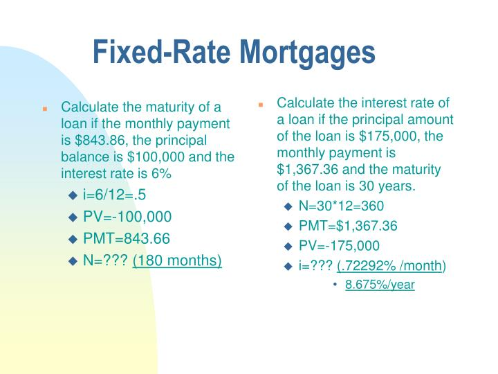 Calculate the maturity of a loan if the monthly payment is $843.86, the principal balance is $100,000 and the interest rate is 6%