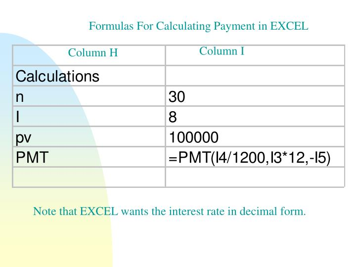 Formulas For Calculating Payment in EXCEL