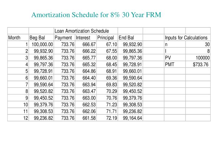 Amortization Schedule for 8% 30 Year FRM