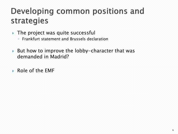 Developing common positions and strategies