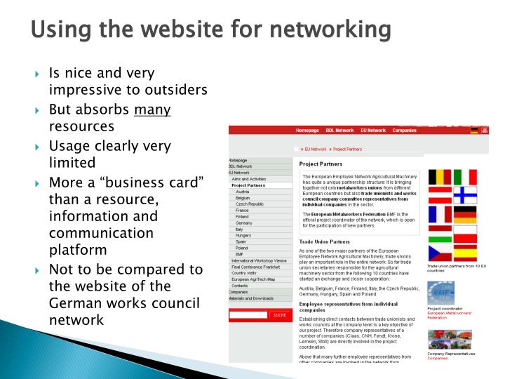 Using the website for networking