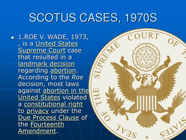 an analysis of the abortion case roe vs wade 1973 Senator dianne feinstein (d, calif) peppered the supreme court nominee with questions about his stance on the 1973 landmark abortion-rights case roe vs wade, which kavanaugh has described as.