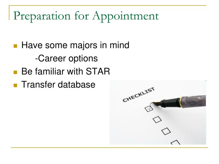 Preparation for Appointment