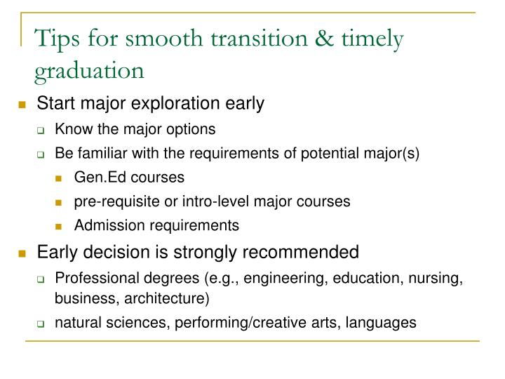 Tips for smooth transition & timely graduation