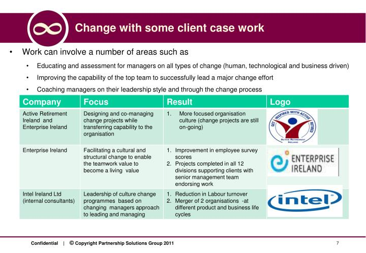Change with some client case work