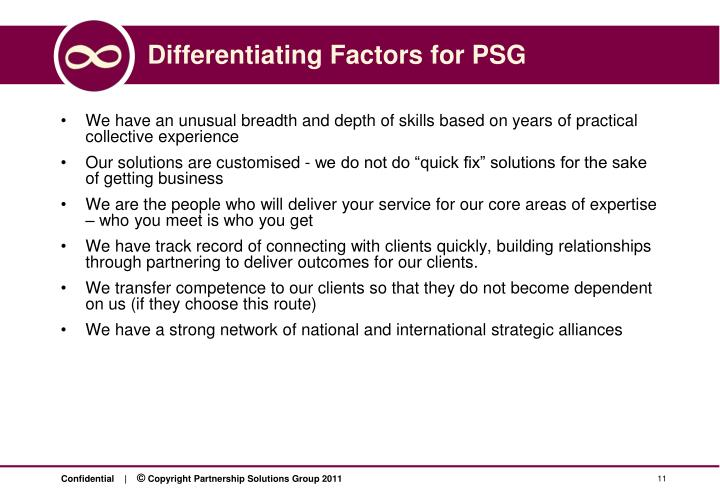 Differentiating Factors for PSG