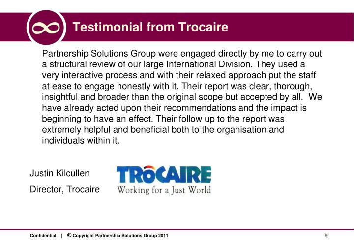 Testimonial from Trocaire