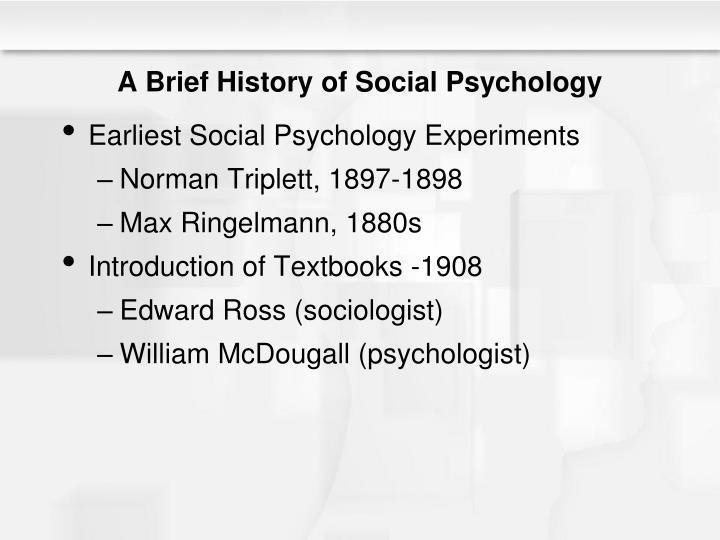 A brief history of social psychology
