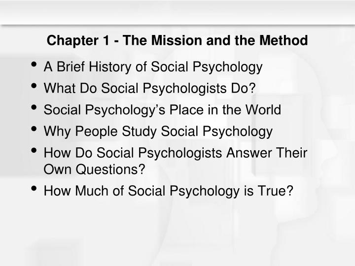 Chapter 1 the mission and the method
