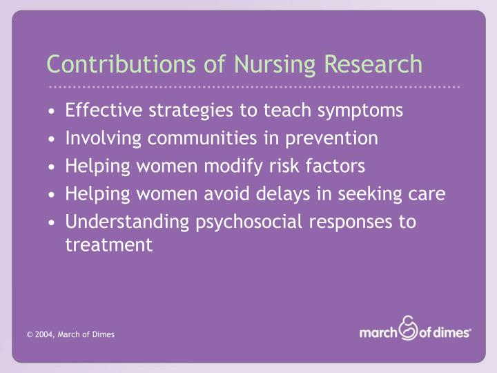Contributions of Nursing Research
