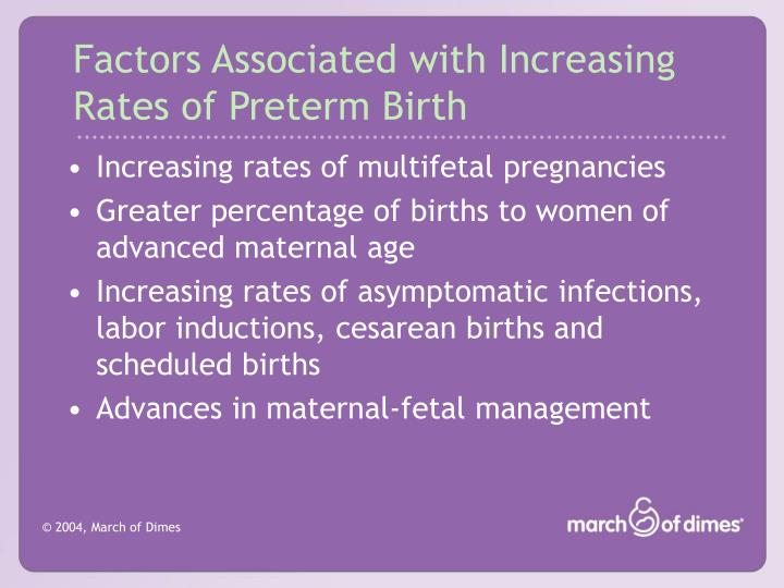 Factors associated with increasing rates of preterm birth