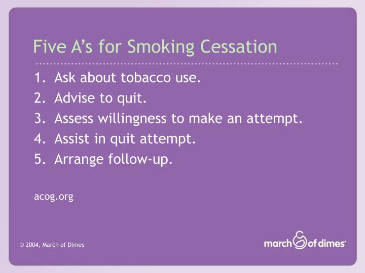 Five A's for Smoking Cessation