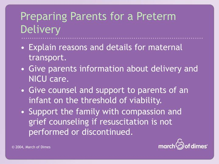 Preparing Parents for a Preterm Delivery