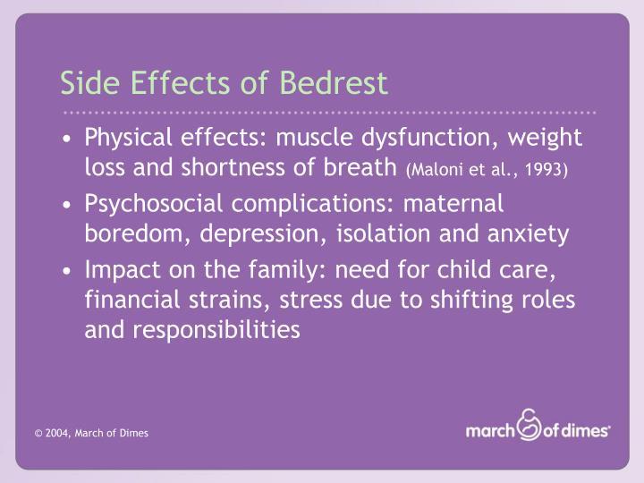 Side Effects of Bedrest