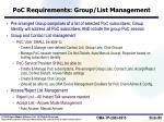 poc requirements group list management