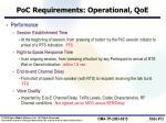 poc requirements operational qoe