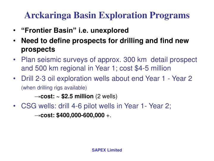 Arckaringa Basin Exploration Programs