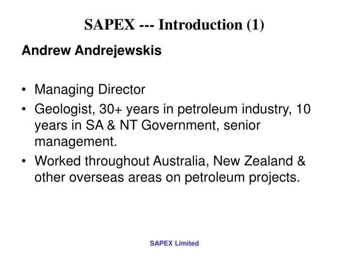 Sapex introduction 1
