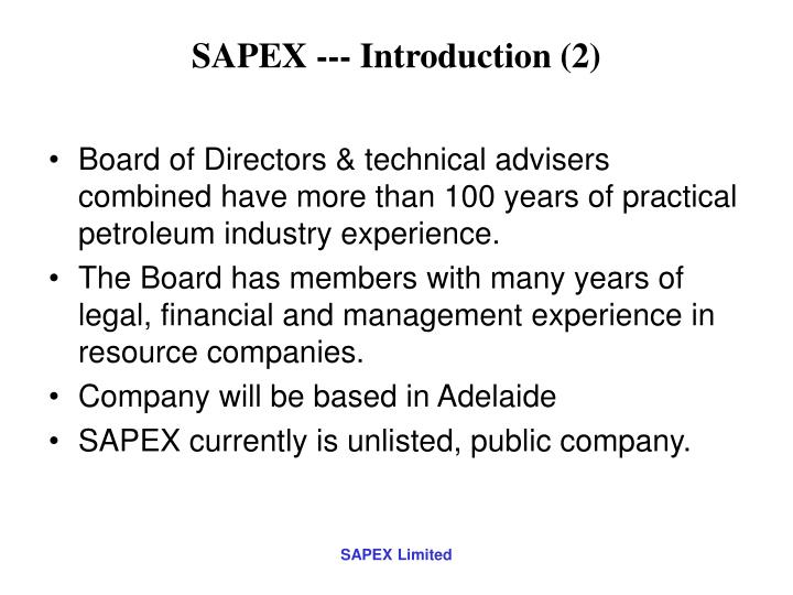 SAPEX --- Introduction (2)