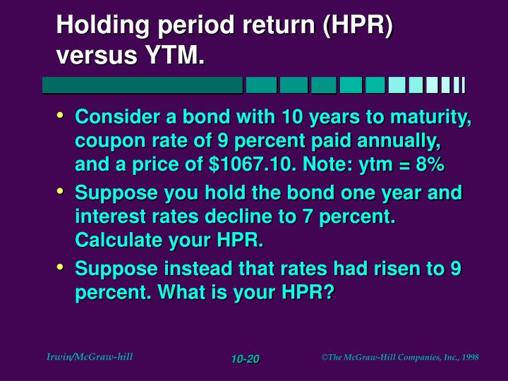 Holding period return (HPR) versus YTM.