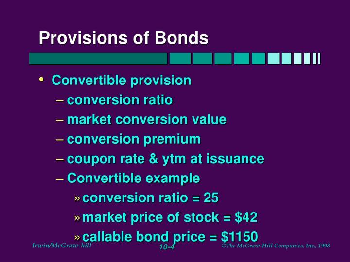 Provisions of Bonds