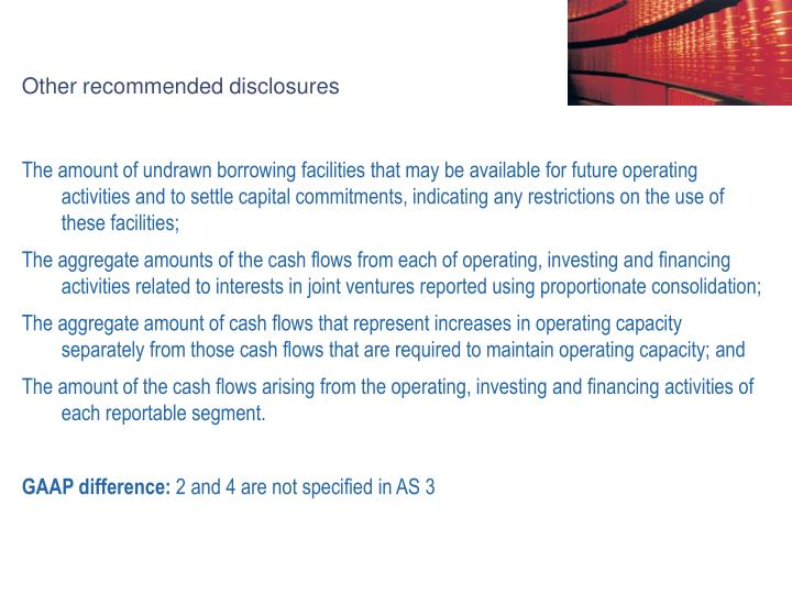 Other recommended disclosures