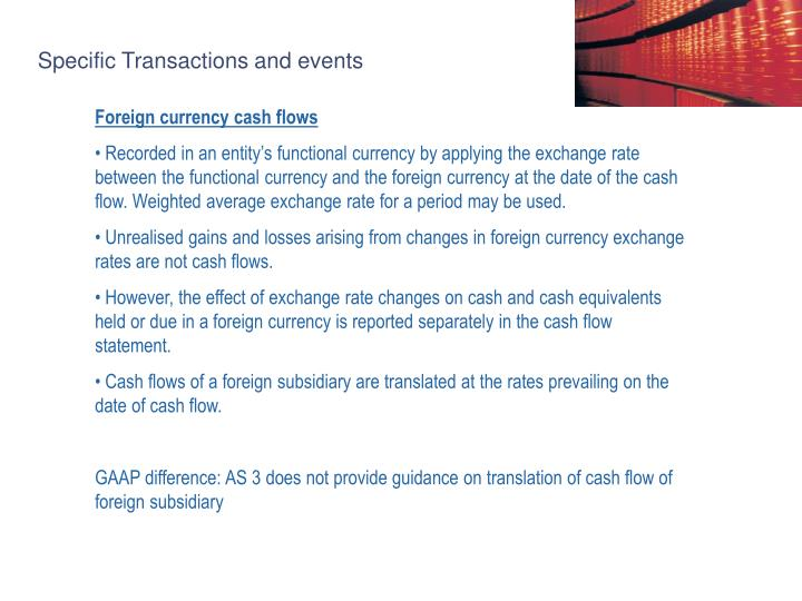 Specific Transactions and events