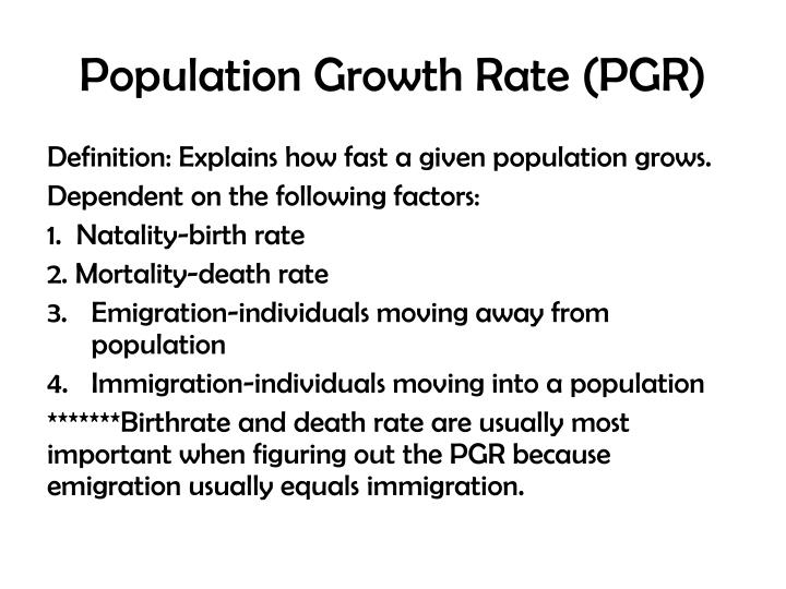Population Growth Rate (PGR)
